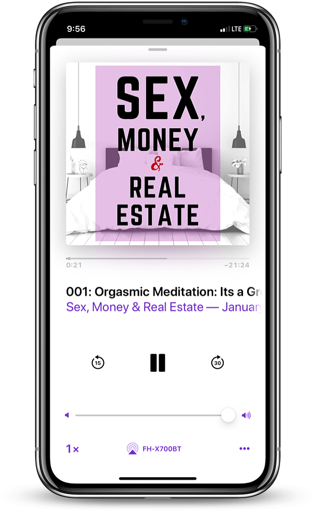 Sex, Money & Real Estate Podcast on a smartphone